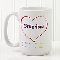 image of All Our Hearts 15 oz. Personalized Coffee Mug in White