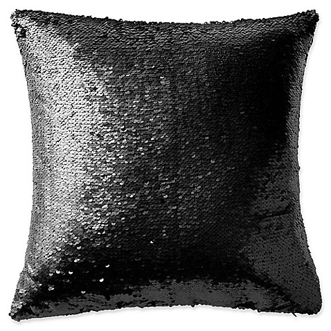 Highline Bedding Co. Gabriella Sequin Square Throw Pillow in Black - Bed Bath & Beyond