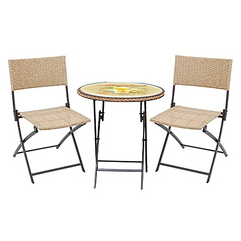 Buy margaritaville hemmingway 3 piece outdoor wicker bistro set in yellow brown from bed bath - Bistro sets for small spaces collection ...
