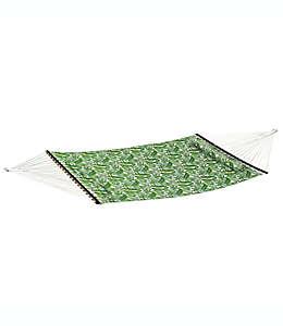 Hamaca tejida con cojín con diseño de palmas