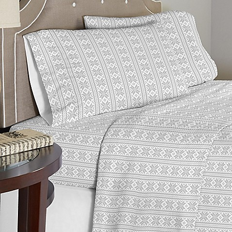Pointehaven 175 GSM Fair Isle Flannel Sheet Set in Grey/White ...