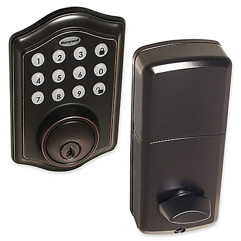 buy honeywell electronic entry deadbolt door lock with keypad in oil rubbed bronze from bed bath. Black Bedroom Furniture Sets. Home Design Ideas