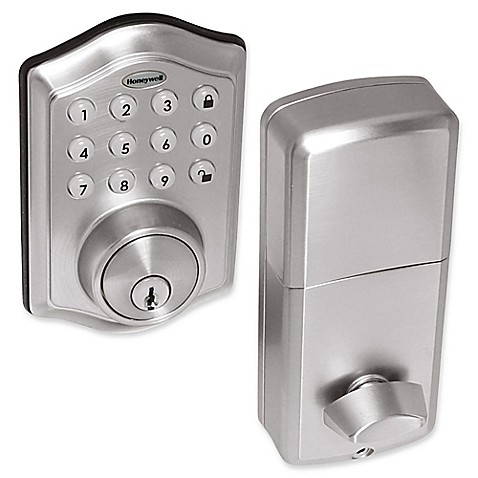 buy honeywell electronic entry deadbolt door lock with keypad in satin nickel from bed bath beyond. Black Bedroom Furniture Sets. Home Design Ideas