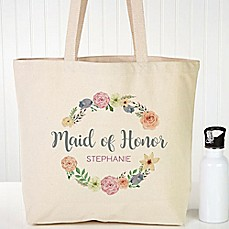 image of Floral Wreath Bridal Canvas Tote Bag