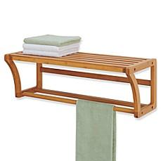 image of neu home lohas bamboo wall mounted shelf with towel bar