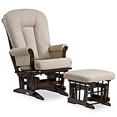image of Dutailier® Multi-Position Reclining Sleigh Glider and Nursing Ottoman in Brown/Light Beige