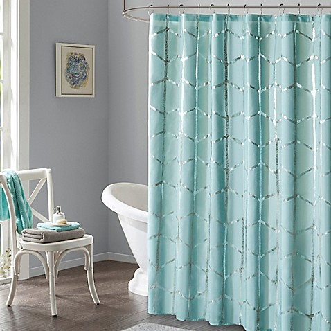 Intelligent design raina metallic shower curtain bed - Intelligent shower ...