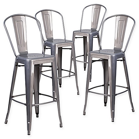Buy Flash Furniture 30 Inch Clear Coated Metal Bar Stools