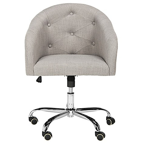 Safavieh Amy Linen And Chrome Swivel Office Chair In Grey