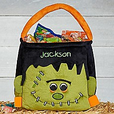 image of Frankenstein Embroidered Plush Treat Bag