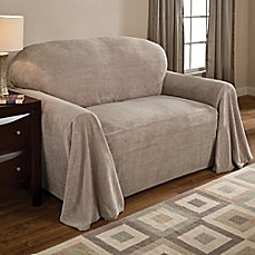 image of coral polyester fleece loveseat throw cover