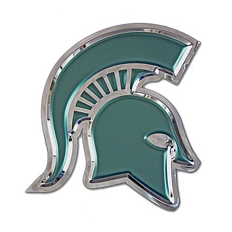 Michigan State University Small Spartan Helmet Wall Art In Green Chrome Bed Bath Beyond