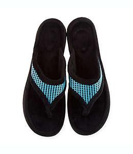 Pantuflas grandes tipo sandalia para mujer Therapedic® en aqua
