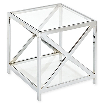 Image Of Madison Park Darwin Chrome And Glass End Table