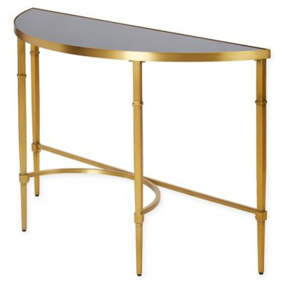 image of Madison Park Echo Glass and Metal Bowed Console Table
