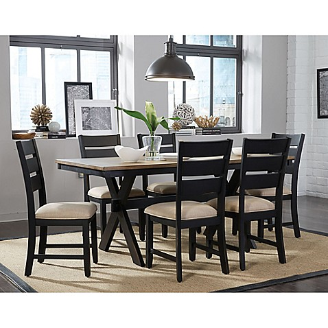 Elegant Standard Furniture Braydon 7 Piece Table And Chair Set In Rustic Brown