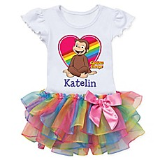 image of Curious George™ Heart Rainbow Tutu T-Shirt