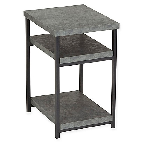 Household essentials faux concrete slate side table in for Household cement