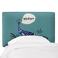 image of Skyline Furniture Personalized Digitally Printed Peacock Patterned Headboard