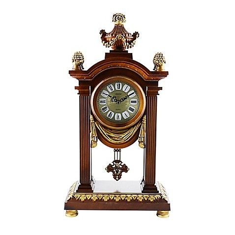 Three star 20 inch x 11 inch table clock in brown gold for 11 inch table