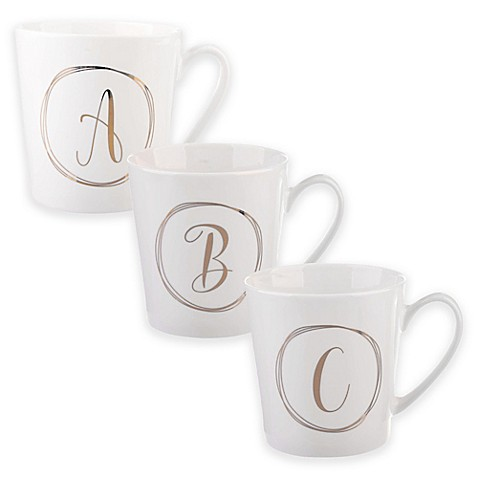 formations monogram mug in white gold bed bath beyond