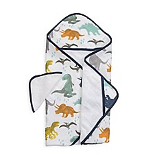 image of Little Unicorn™ Cotton Hooded Towel and Washcloth Set in Dino Friends