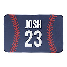 image of Designs Direct 34-Inch x 21-Inch Baseball Stitching Bath Mat in Blue