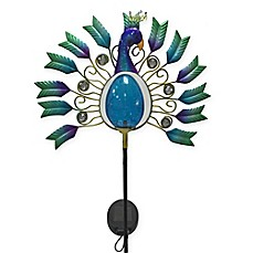 Peacock Crackle Globe Solar Lighted Garden Stake in Blue