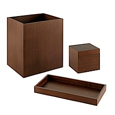 image of madison park walnut 3piece bath accessory set
