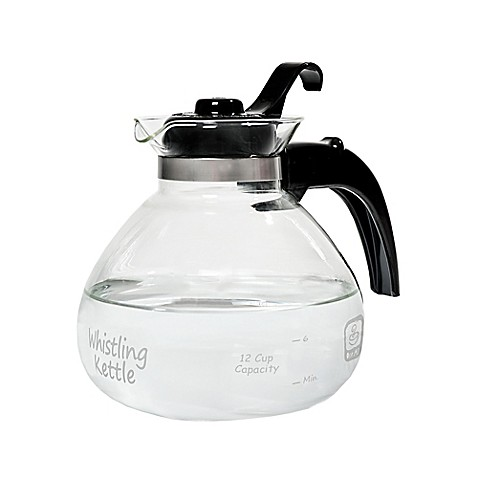 Medelco Stovetop Whistling 12-Cup Glass Tea Kettle