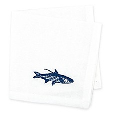 image of Caskata Embroidered Fish Cocktail Napkins (Set of 4)