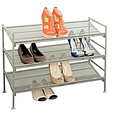 Image Of Seville Classics 3 Tier Mesh Multi Position Shoe Rack In Silver