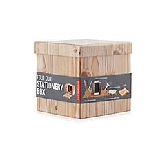 Greeting card organizer box bed bath beyond kikkerland wood fold out stationary box m4hsunfo