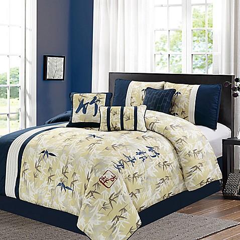 Feng-Shui 7-Piece Comforter Set in Yellow - Bed Bath & Beyond