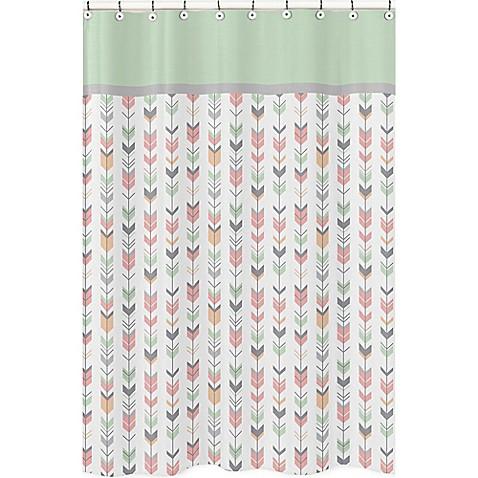 Sweet Jojo Designs Mod Arrow Shower Curtain In Coral Mint