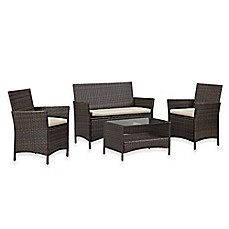 Image Of Walker Edison 4 Piece Rattan Patio Chat Set In Brown
