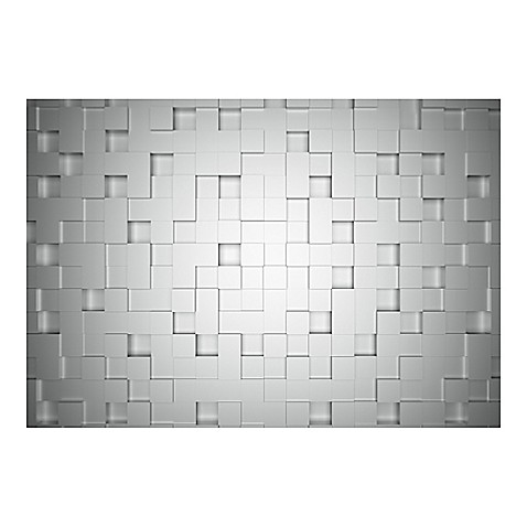 ideal decor cubes wall mural in grey bed bath beyond. Black Bedroom Furniture Sets. Home Design Ideas