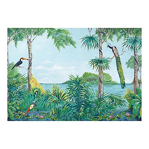 Ideal decor blue lagoon wall mural in green bed bath for Beyond the wall mural design