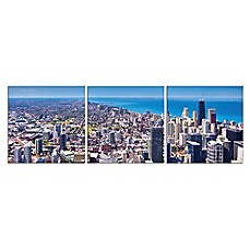 image of Elementem Photography 3-Panel City of Broad Shoulders 20-Inch x 60-Inch Canvas Wall Art