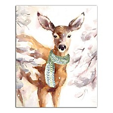 image of Designs Direct Winter Deer 16-Inch x 20-Inch Canvas Wall Art