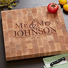 image of The Wedding Couple Butcher Block Cutting Board