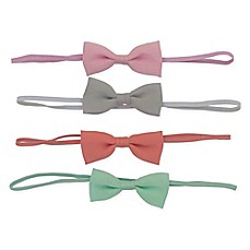 image of So'dorable 4-Pack Baby Bow Headband in Pink /Grey/Coral/Mint