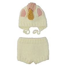 image of So'dorable 2-Piece Unicorn Chunky Knit Bonnet and Short Set in White/Pink