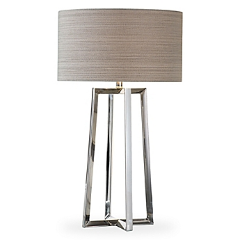 Uttermost Keokee Table Lamp In Stainless Steel With Taupe Linen Shade