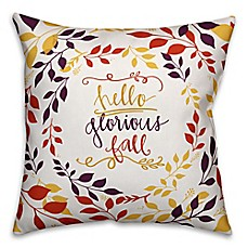 image of Designs Direct Glorious Fall Square Throw Pillow in White