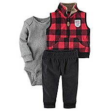 image of carter's® 3-Piece Buffalo Plaid Little Vest Set in Red