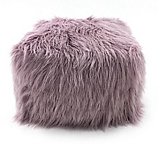 image of Lounge & Co Faux Fur Pouf Ottoman
