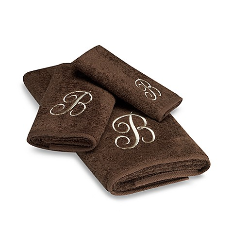 Avanti Premier Ivory Script Monogram Hand Towels In Mocha Bed Bath Beyond