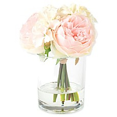 image of Pure Garden 7.5-Inch Hydrangea/Rose Artificial Arrangement in Pink/Cream with Clear Glass Vase
