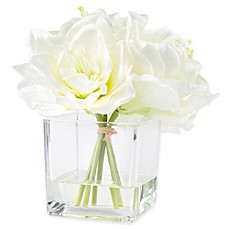 image of Pure Garden 8.5-Inch Lily Artificial Arrangement in Cream with Clear Glass Vase
